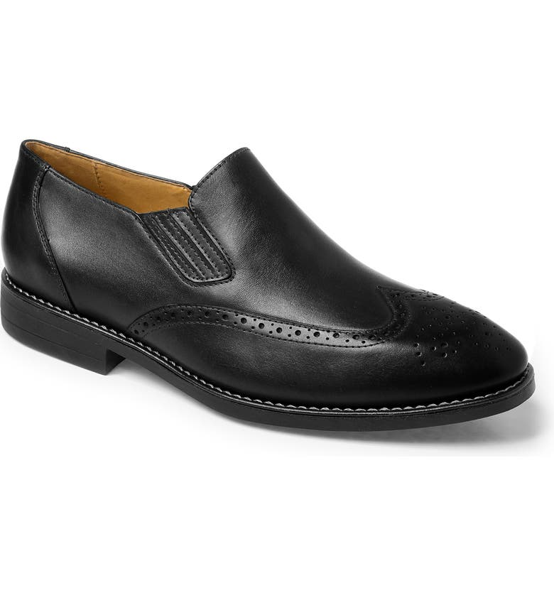 SANDRO MOSCOLONI Harris Wingtip Slip-On, Main, color, BLACK LEATHER