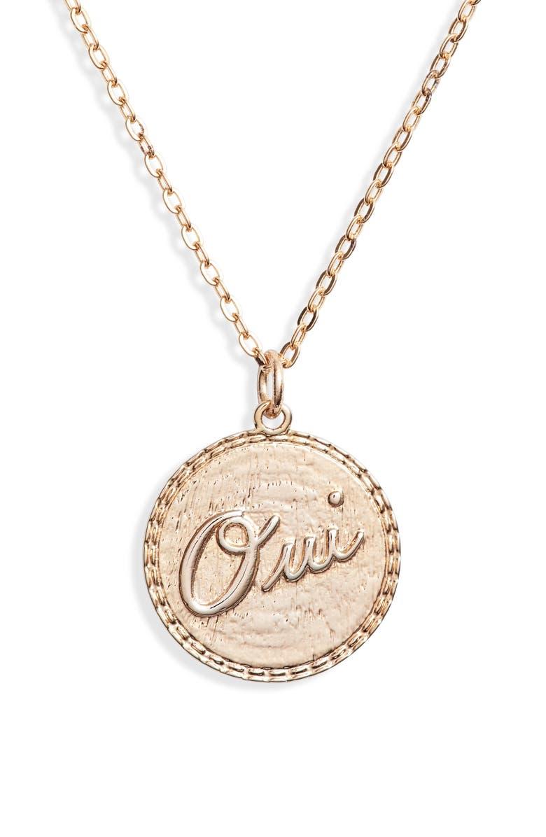 TEN79LA Oui Oui Charm Necklace, Main, color, GOLD
