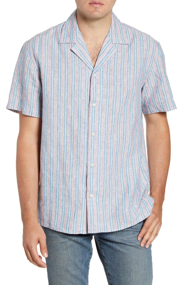 BONOBOS Cabana Stripe Short Sleeve Button-Up Camp Shirt, Main, color, LINEN STRIPE