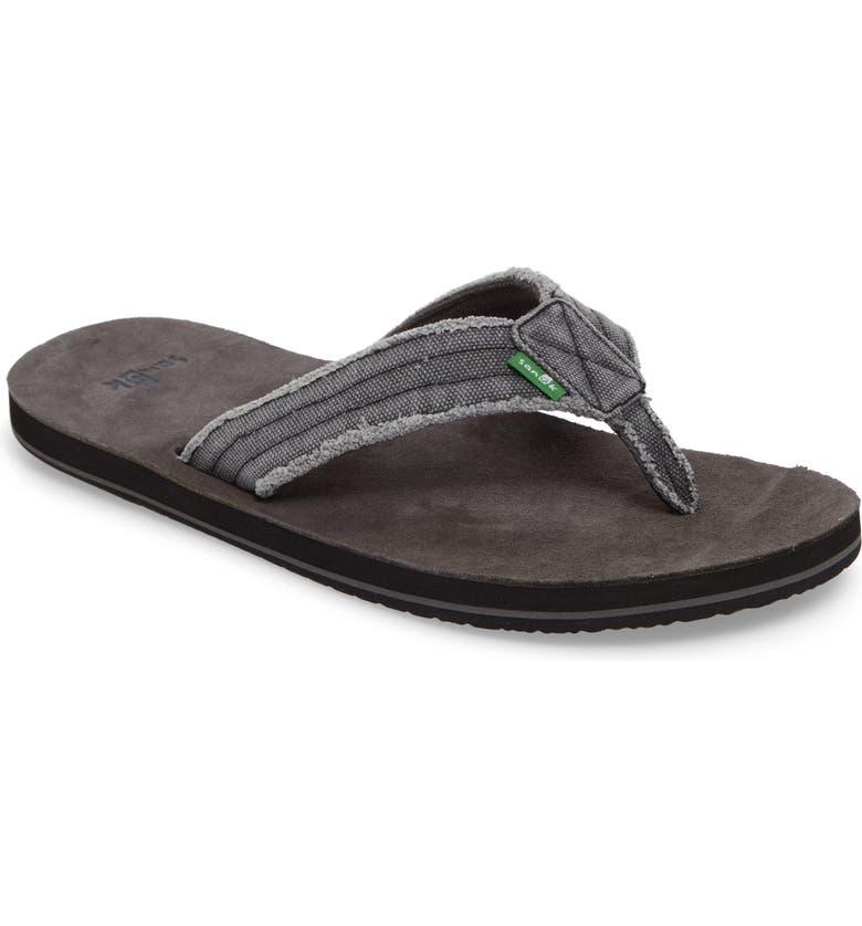 SANUK 'Fraid Not' Flip Flop, Main, color, CHARCOAL