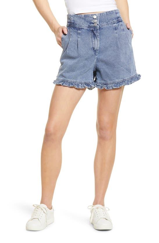 Kendall + Kylie Frill Hem Denim Shorts In Acid Wash Blue