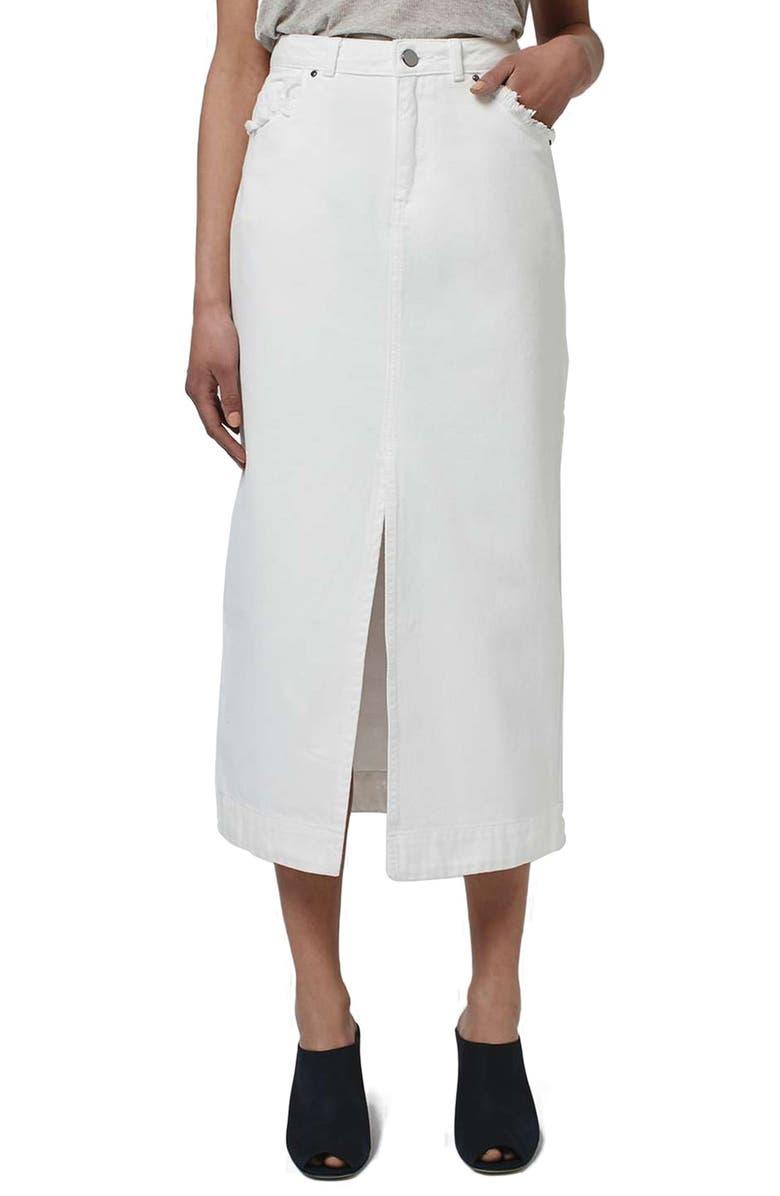 TOPSHOP BOUTIQUE Denim Midi Skirt, Main, color, 100