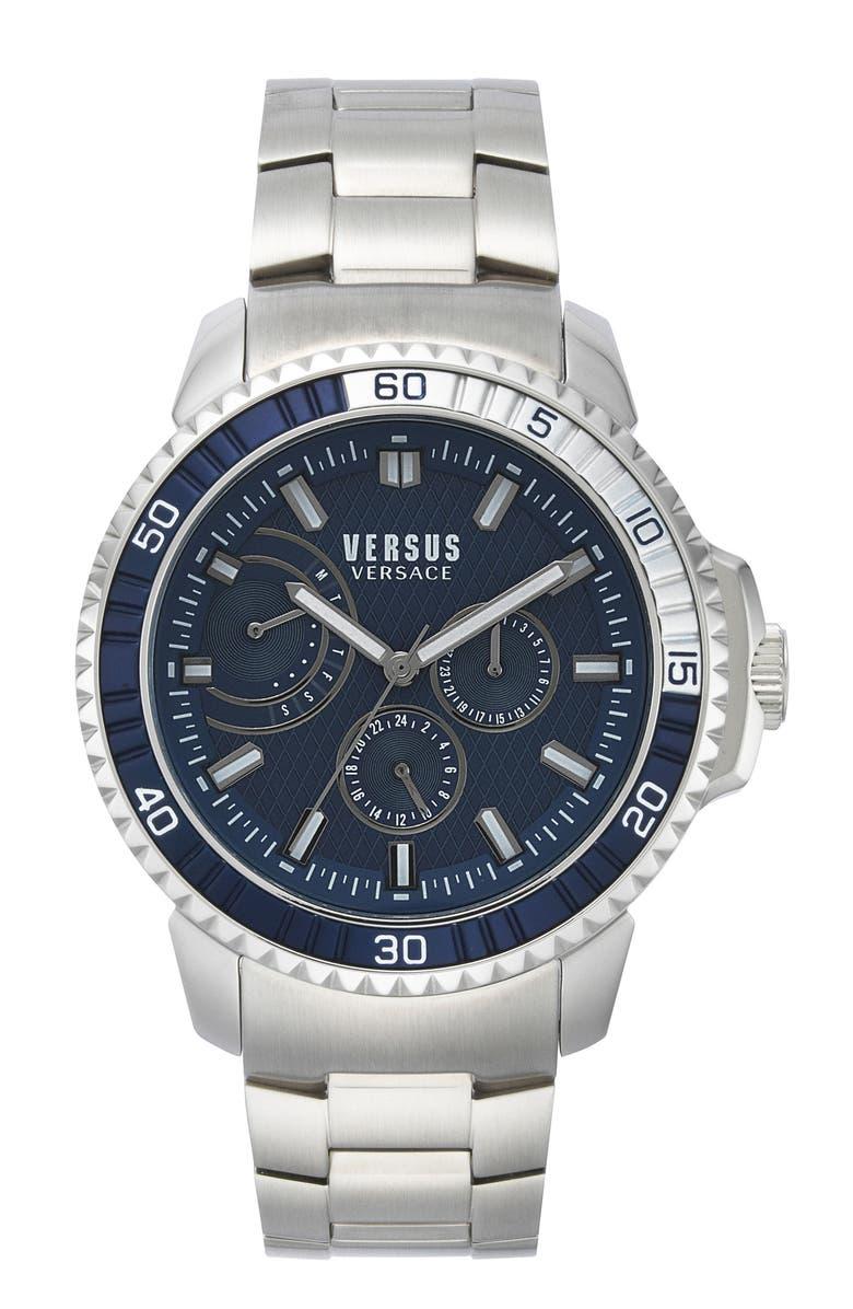 VERSUS VERSACE Aberdeen Bracelet Watch, 45mm, Main, color, SILVER/ BLUE/ SILVER