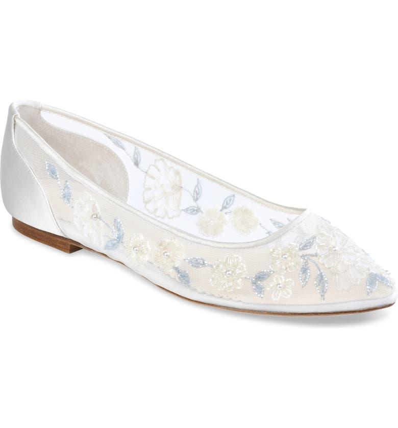 BELLA BELLE Fiona Embellished Flat, Main, color, IVORY SILK