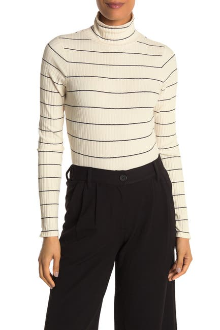 Image of Vince Stripe Print Rib Knit Turtleneck Sweater