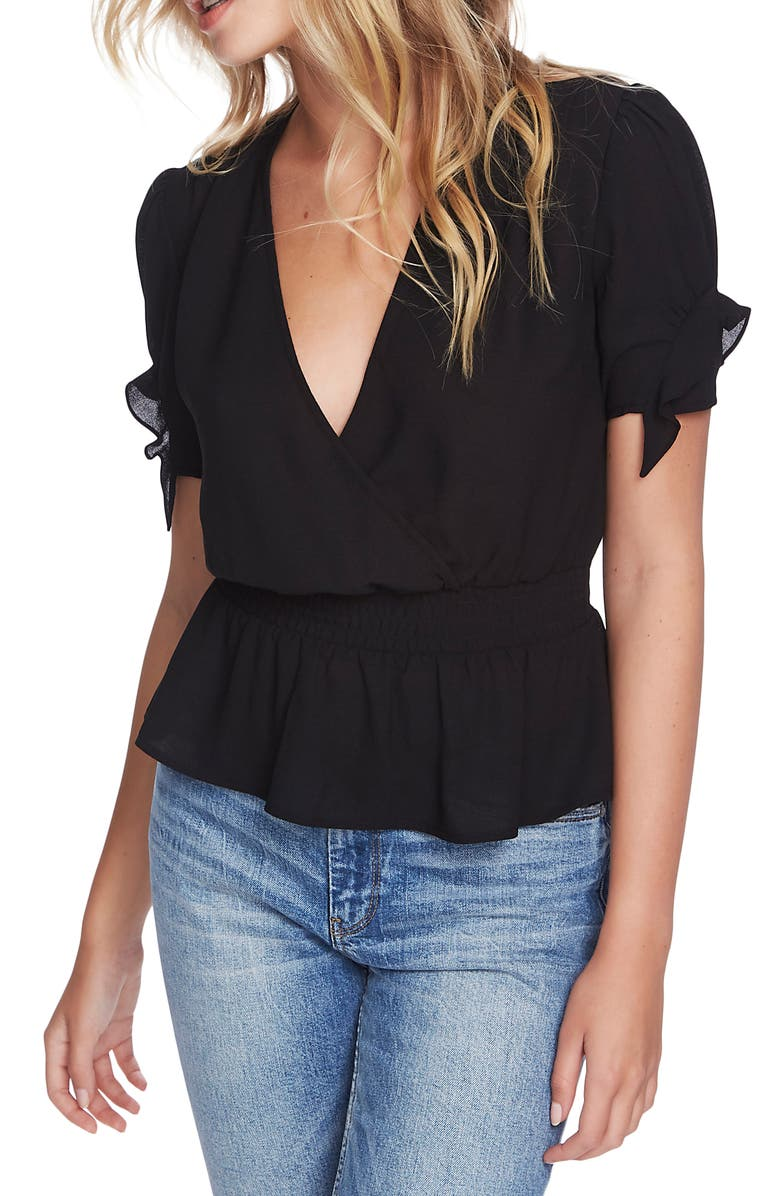 1.STATE Surplice Smocked Waist Top, Main, color, RICH BLACK