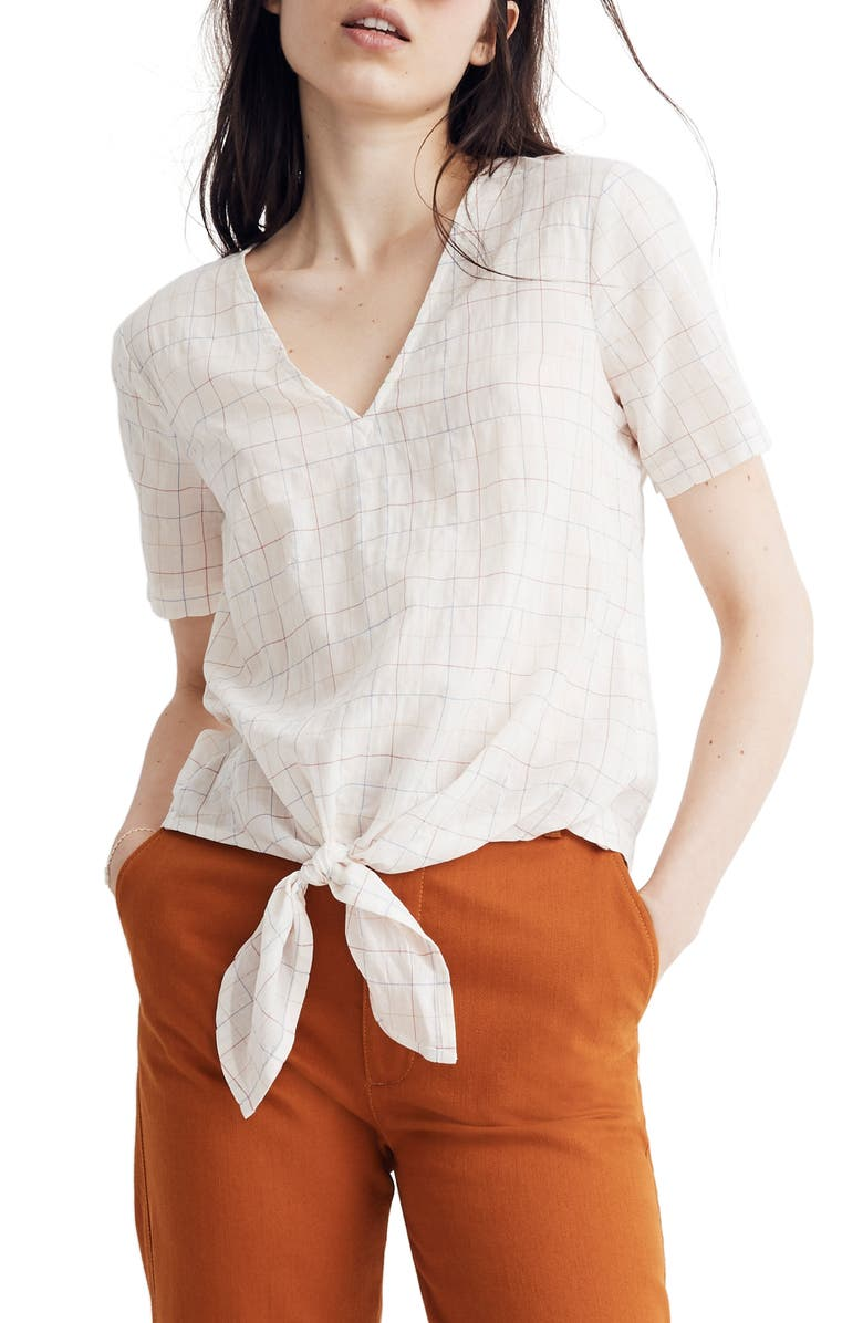 Rainbow Windowpane Tie Front Top by Madewell