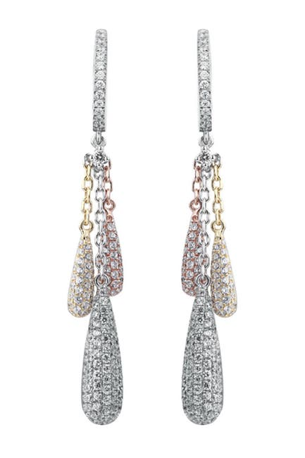 Image of Suzy Levian Pave CZ Tri-Tone Sterling Silver Dangle Earrings