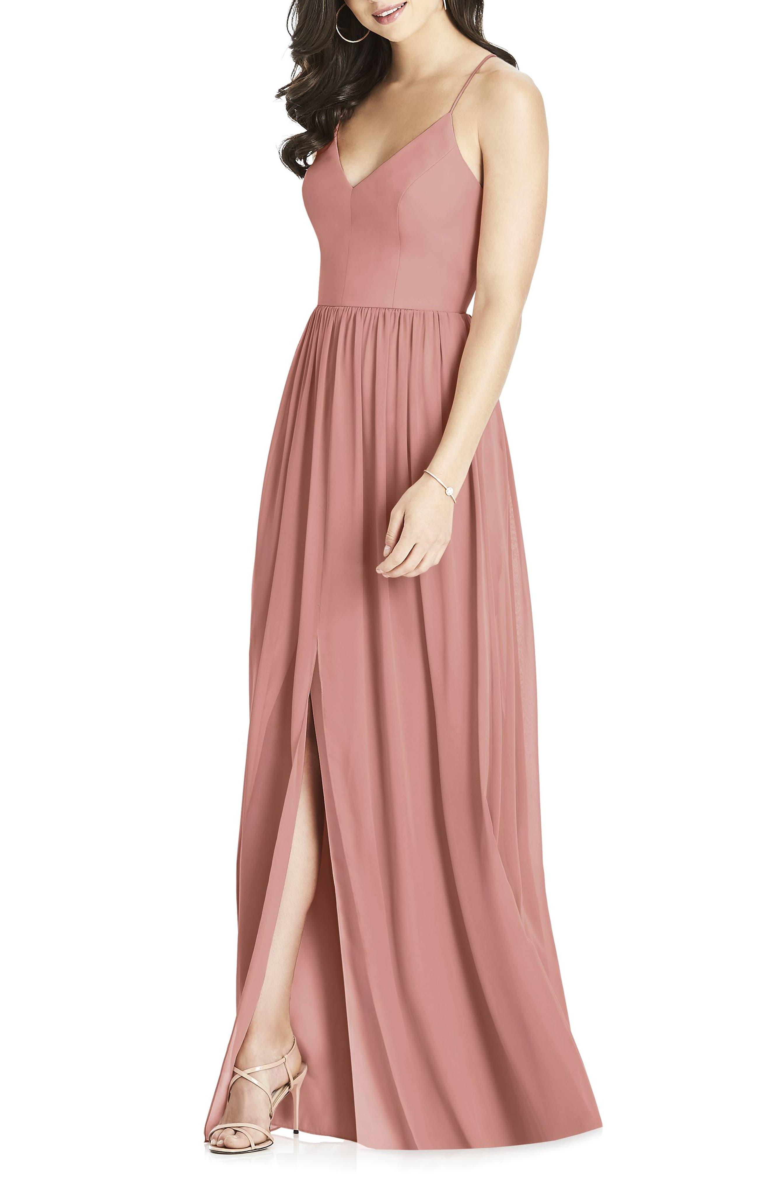 Dessy Collection Spaghetti Strap Chiffon Gown, Pink