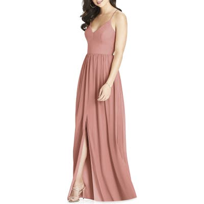 Dessy Collection Spaghetti Strap Chiffon Gown, Pink