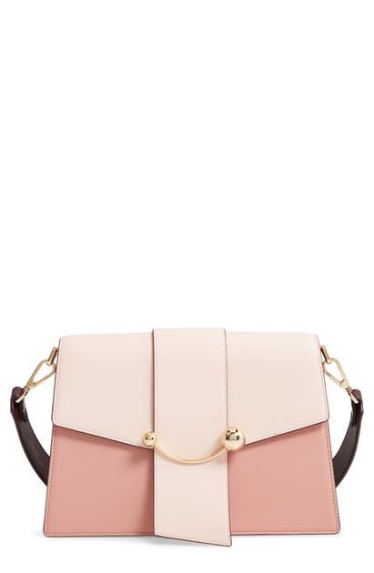 Strathberry Crescent Tricolor Leather Shoulder Bag In Soft Pink