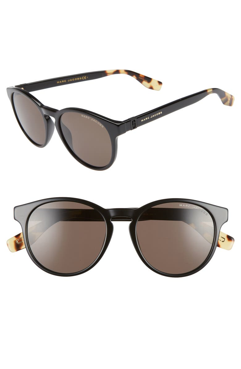 THE MARC JACOBS 52mm Round Sunglasses, Main, color, BLACK