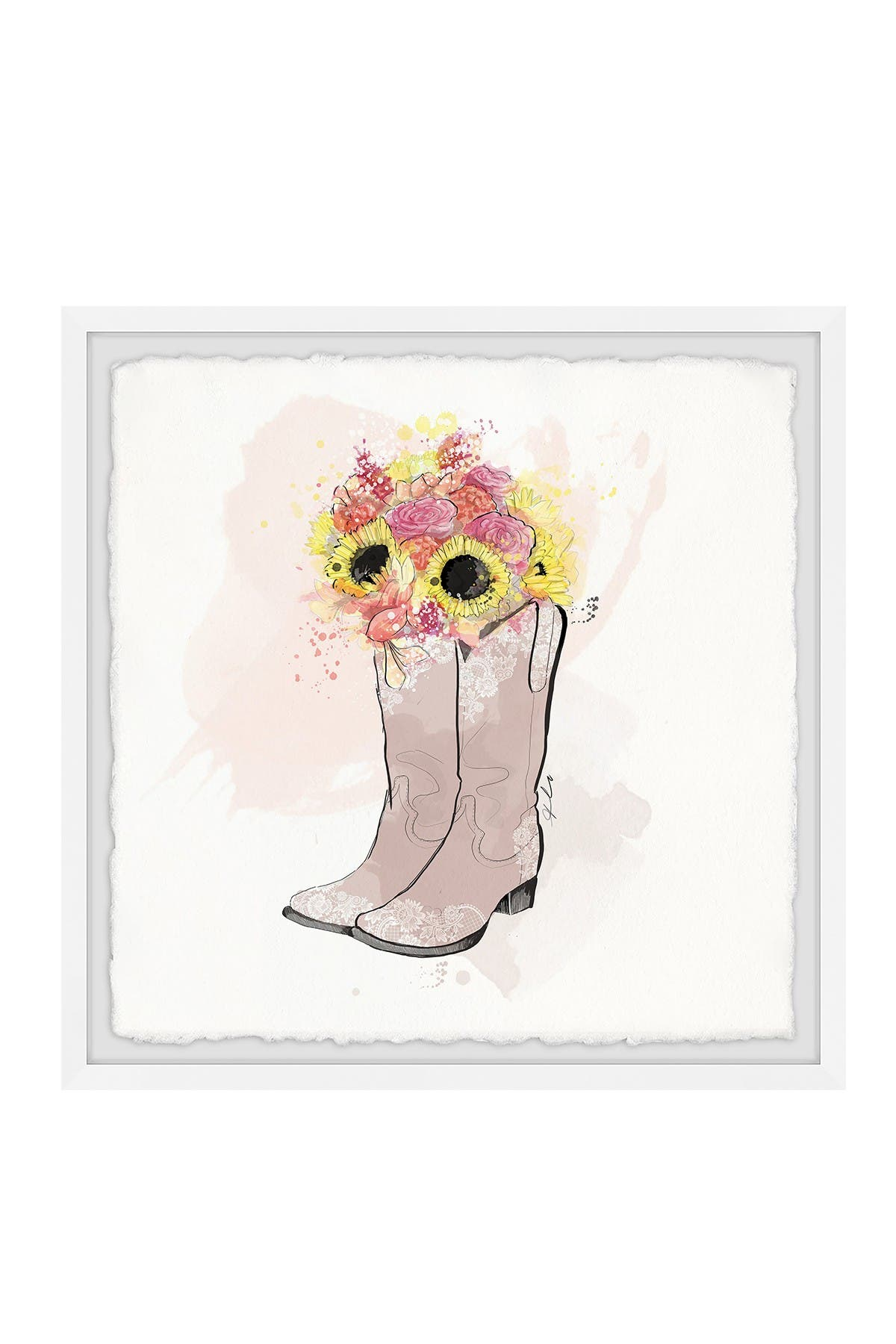 """Image of Marmont Hill Inc. Floral Cowboy Boots Framed Painting Print - 32""""x32"""""""