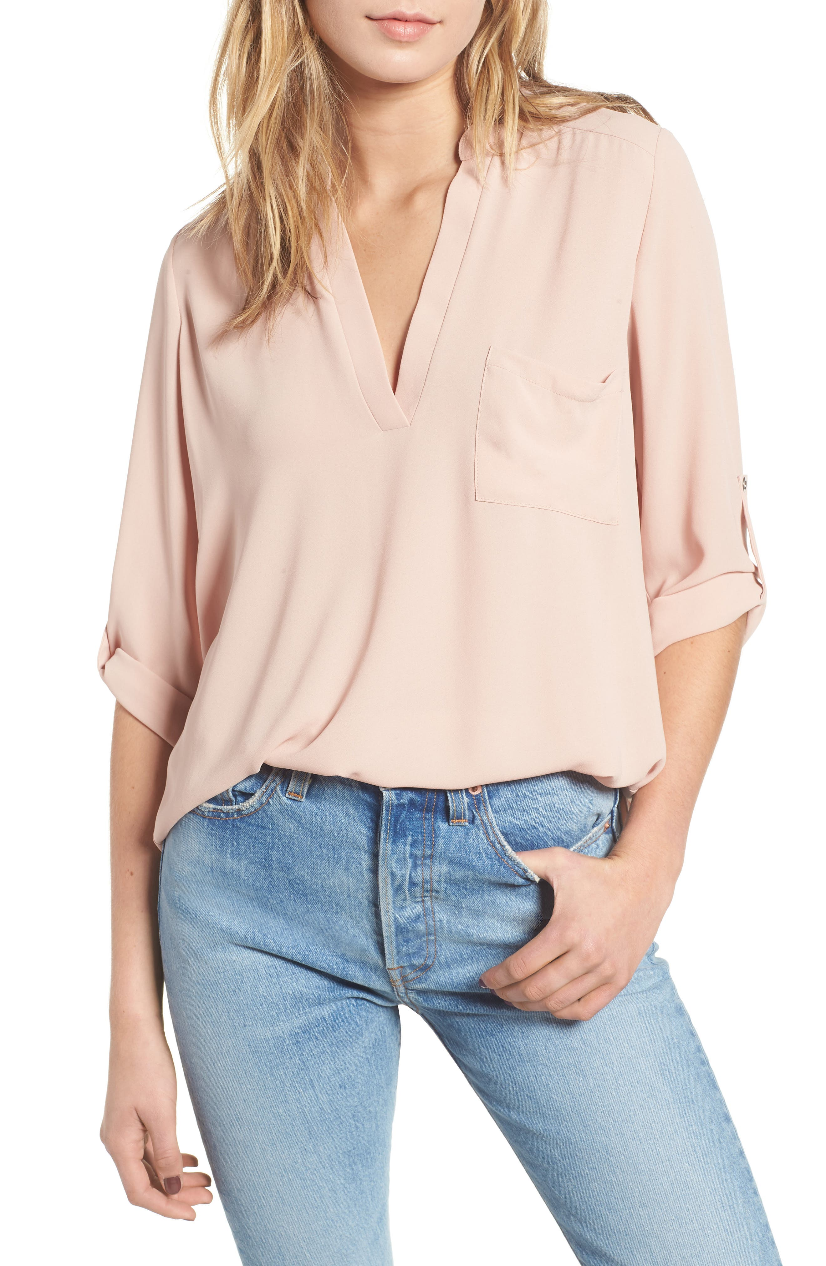 Perfect Roll Tab Sleeve Tunic, Main, color, 218