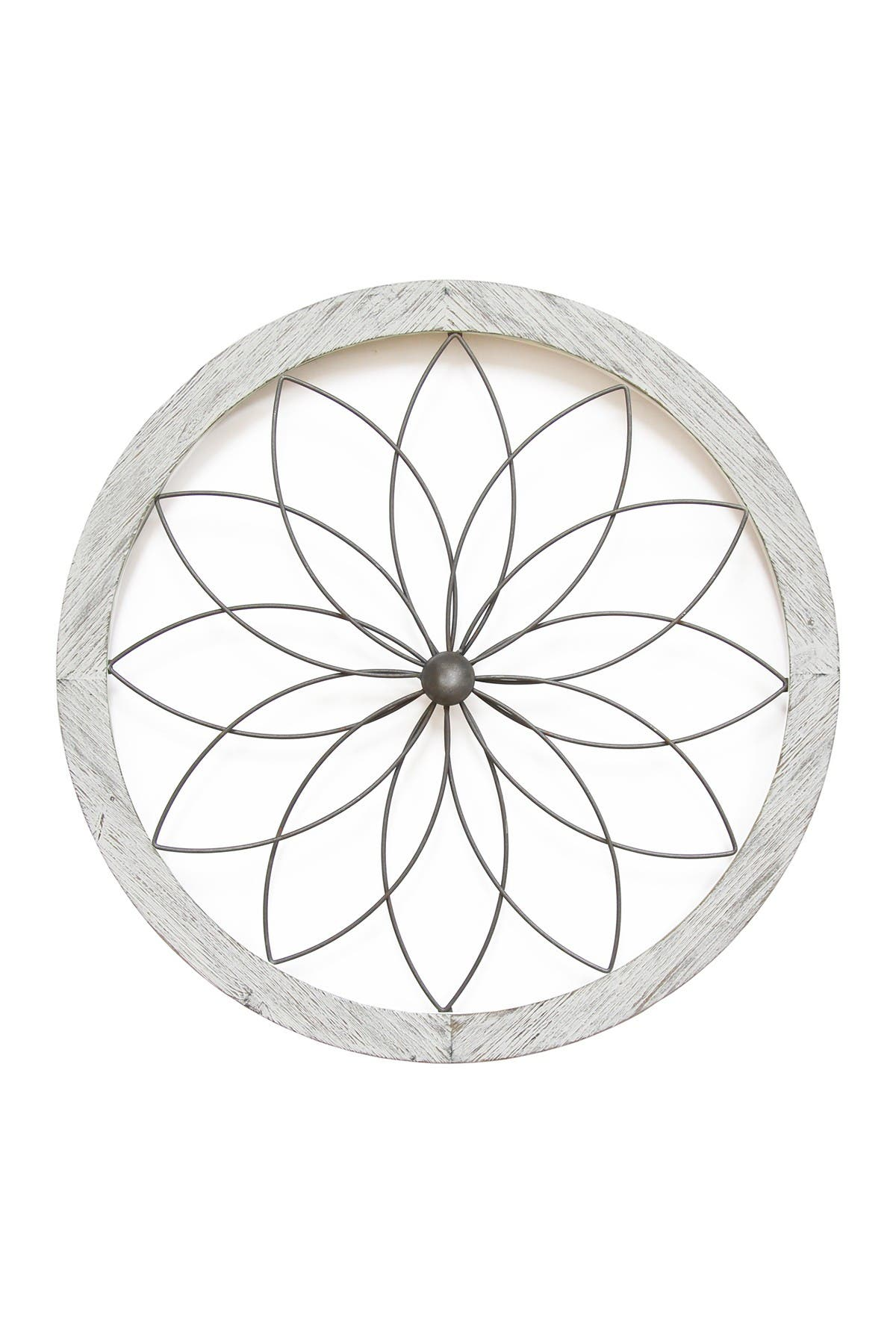 Image of Stratton Home White Flower Metal & Wood Art Deco Wall Decor