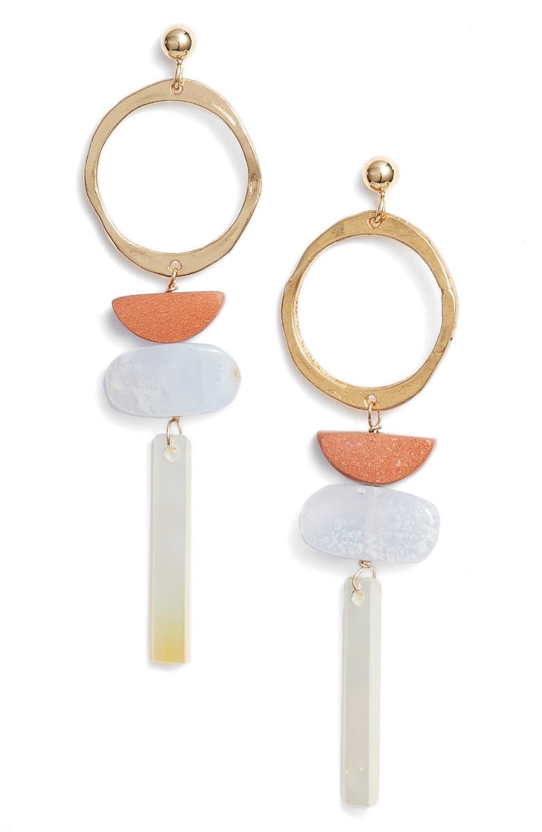 MARIDA Collage Drop Earrings, Main, color, BLUE LACE/ RED/ PEARL/ GOLD