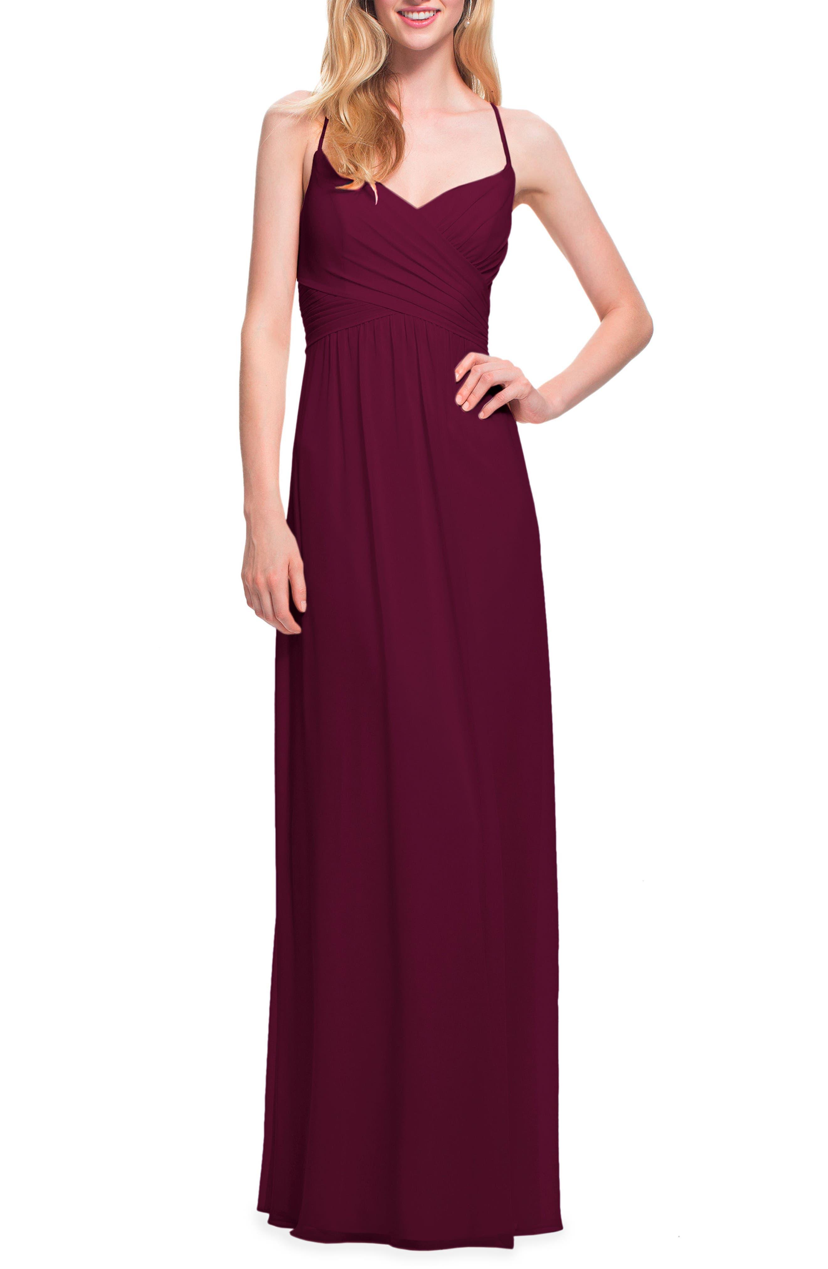 #levkoff Surplice Neck Chiffon Gown, Burgundy