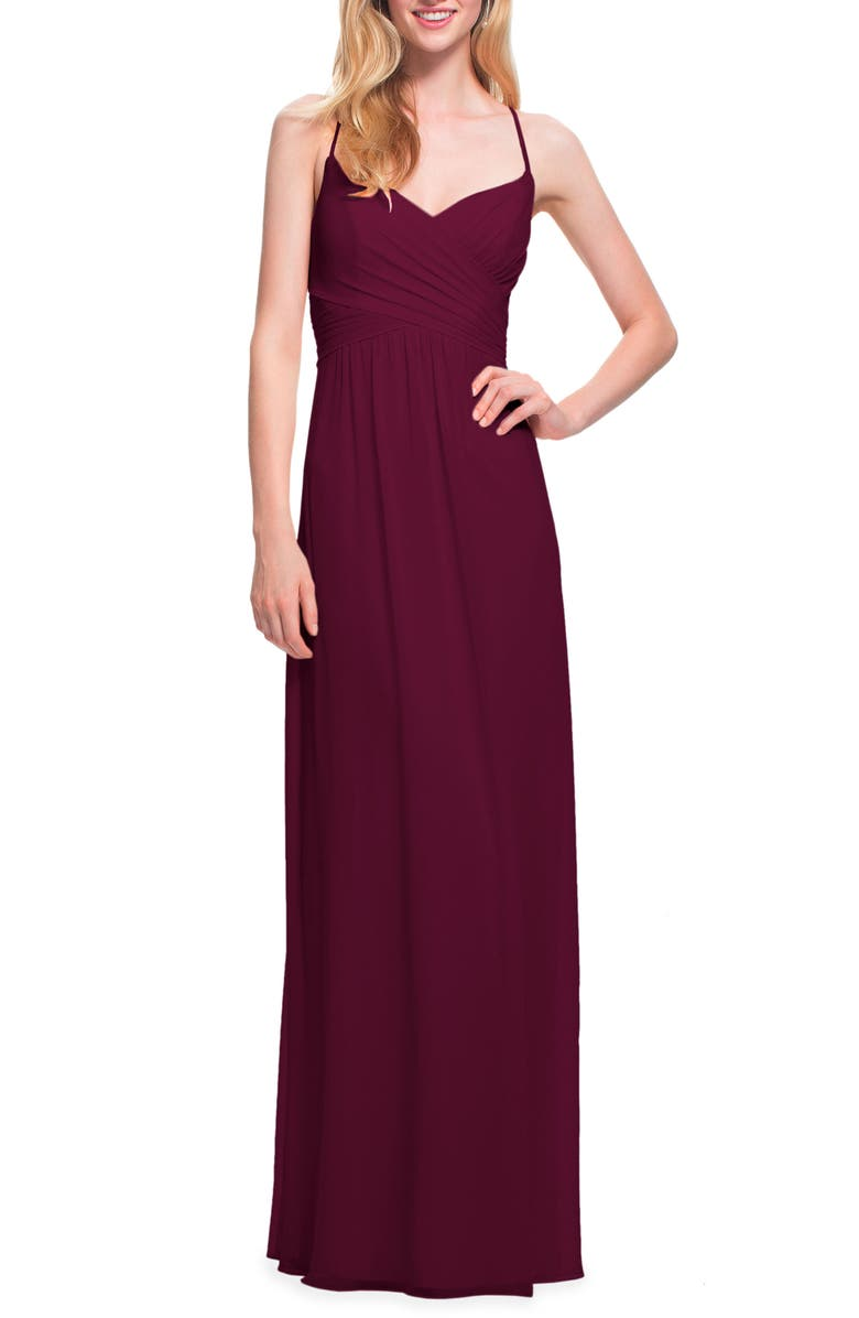 #LEVKOFF Surplice Neck Chiffon Gown, Main, color, WINE