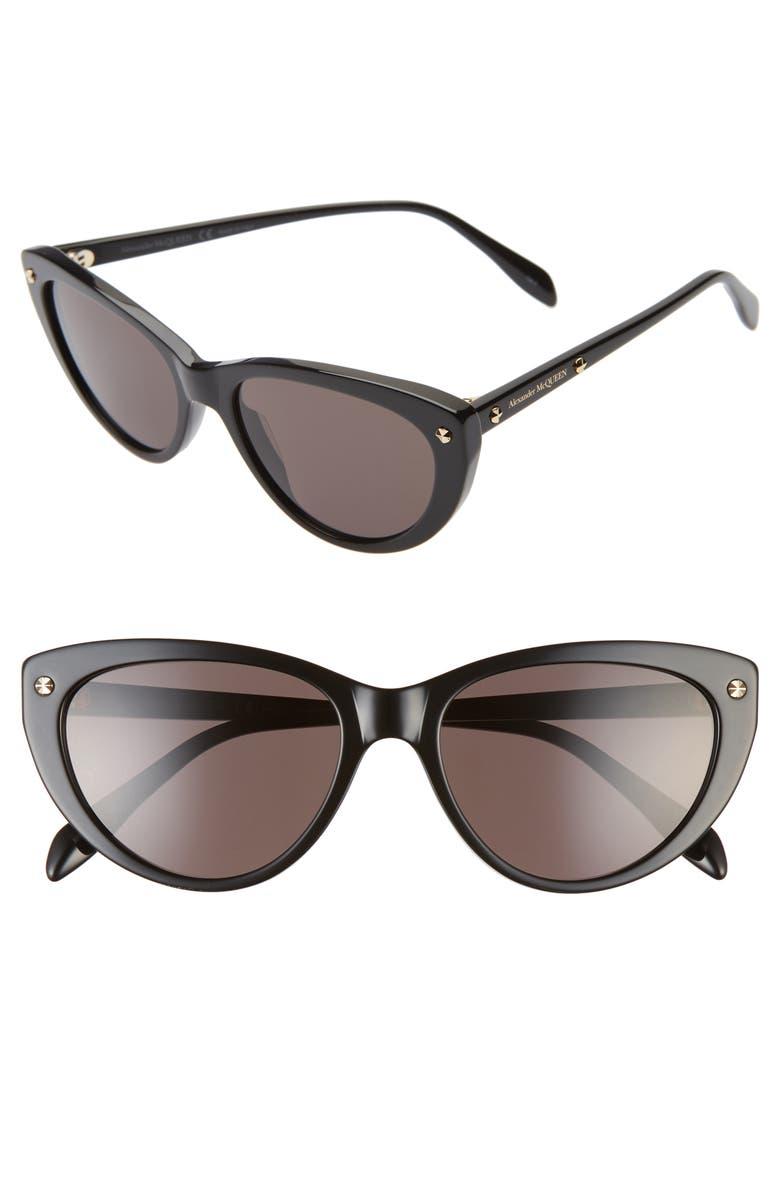 ALEXANDER MCQUEEN 55mm Cat Eye Sunglasses, Main, color, BLACK/ GREY