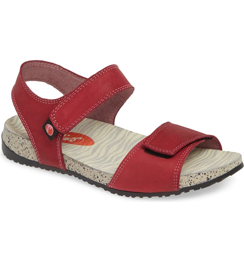 SOFTINOS BY FLY LONDON Kiva Sandal, Main, color, RED LEATHER