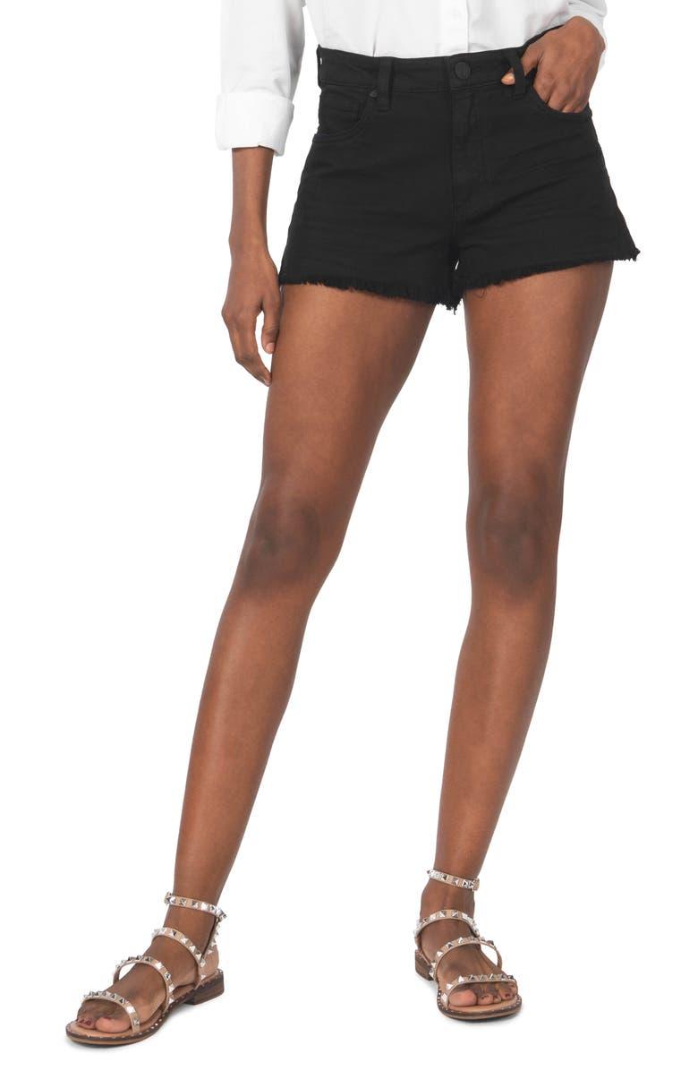 KUT FROM THE KLOTH Gidget Frayed Hem Denim Shorts, Main, color, BLACK