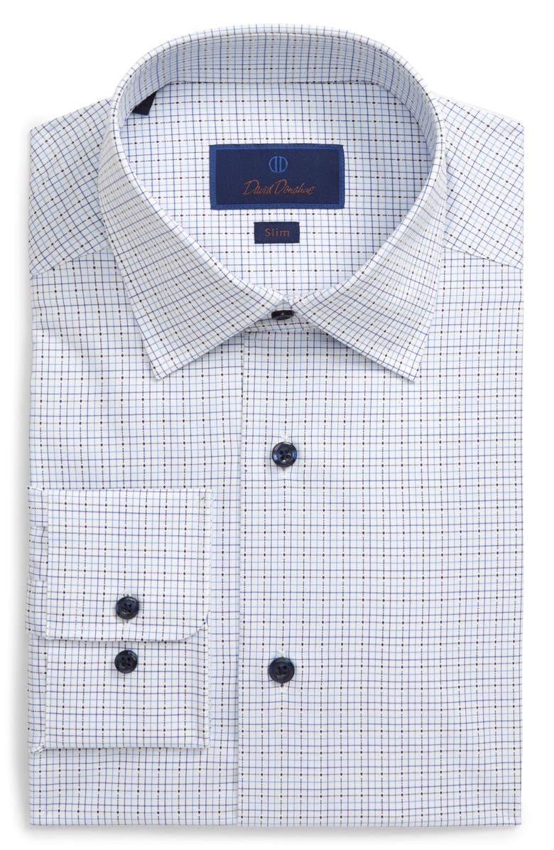 DAVID DONAHUE Slim Fit Dobby Tattersall Dress Shirt, Main, color, WHITE/ NAVY