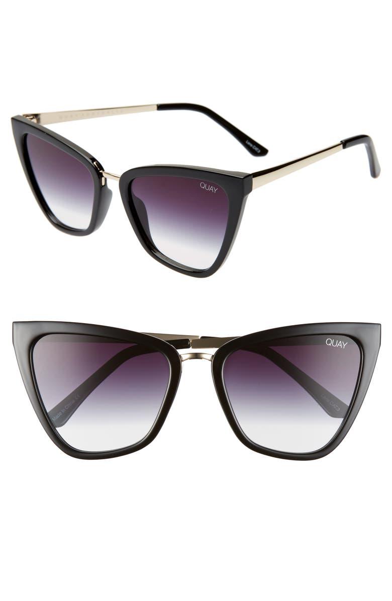 QUAY AUSTRALIA x JLO Reina 51mm Cat Eye Sunglasses, Main, color, BLACK/ FADE