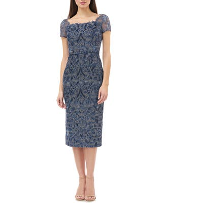Js Collections Embroidered Lace Cocktail Dress, Blue