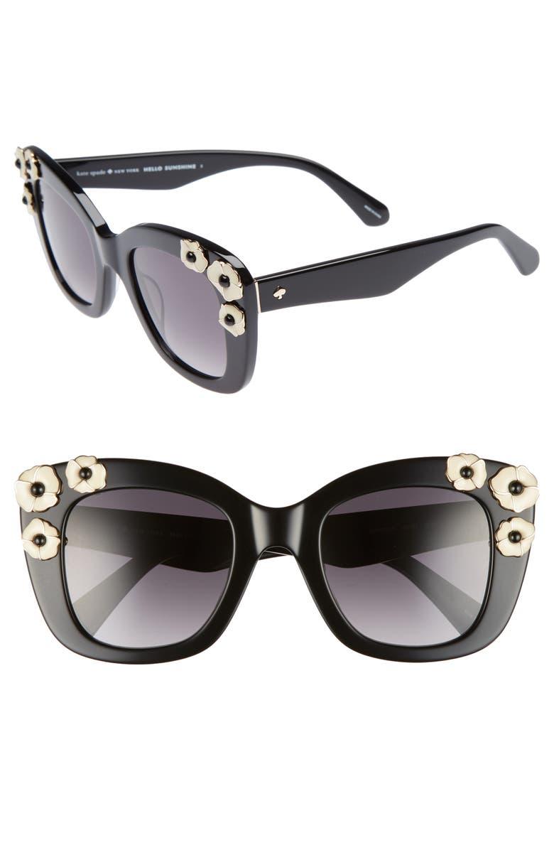 KATE SPADE NEW YORK kate spade drystle 49mm floral embellished square sunglasses, Main, color, 001
