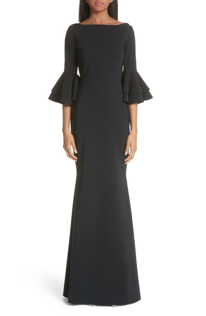 CHIARA BONI LA PETITE ROBE Iva Ruffle Bell Sleeve Gown, Main, color, 001