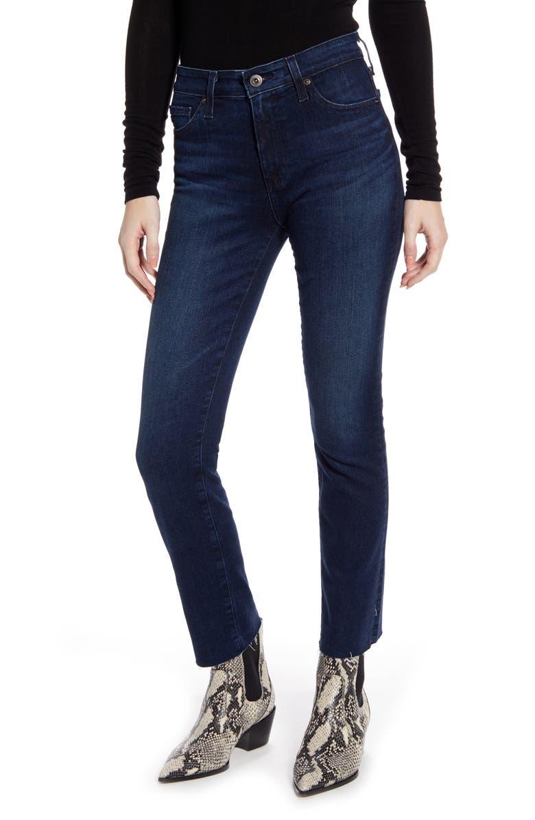 AG Mari High Waist Ankle Slim Straight Leg Jeans, Main, color, VALIANT