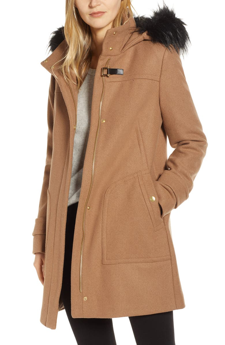 COLE HAAN SIGNATURE Wool Blend Twill Duffle Jacket with Faux Fur Trim, Main, color, CAMEL