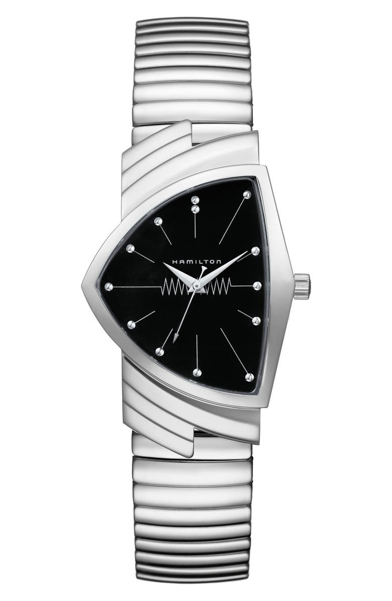 HAMILTON Ventura Bracelet Watch, 32mm x 50mm, Main, color, SILVER/ BLACK/ SILVER