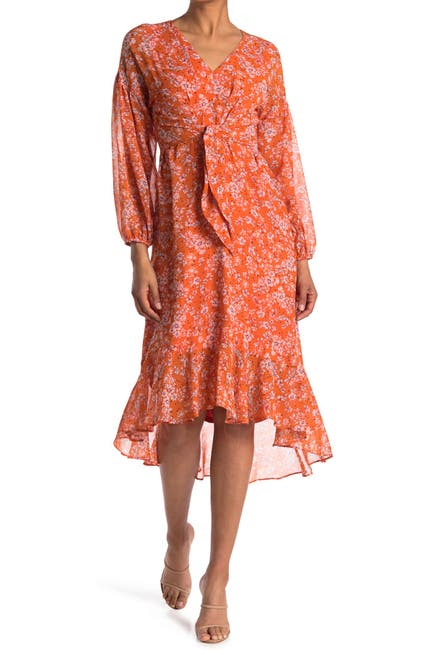 Image of London Times Georgette Floral Print Flow High/Low Hem Dress