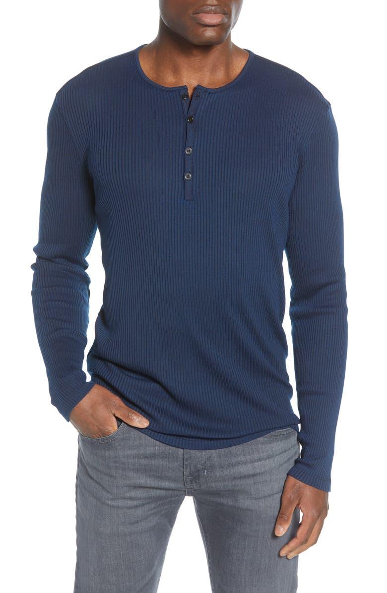 JOHN VARVATOS STAR USA Slim Fit Ribbed Henley, Main, color, INK BLUE