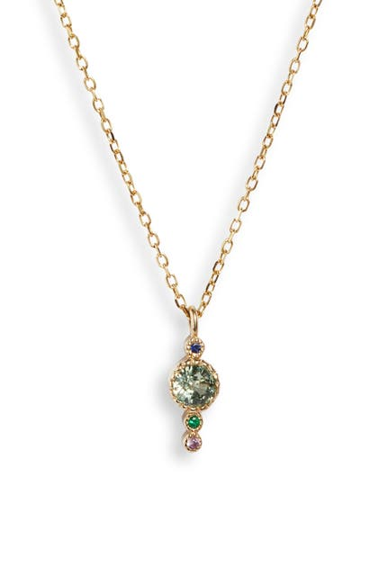 Jennie Kwon Designs Green Sapphire Journey Pendant Necklace In Yellow Gold/ Green Sapphire