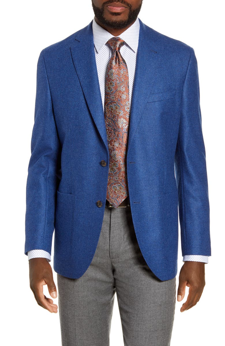 DAVID DONAHUE Aiden Classic Fit Solid Wool Sport Coat, Main, color, BLUE