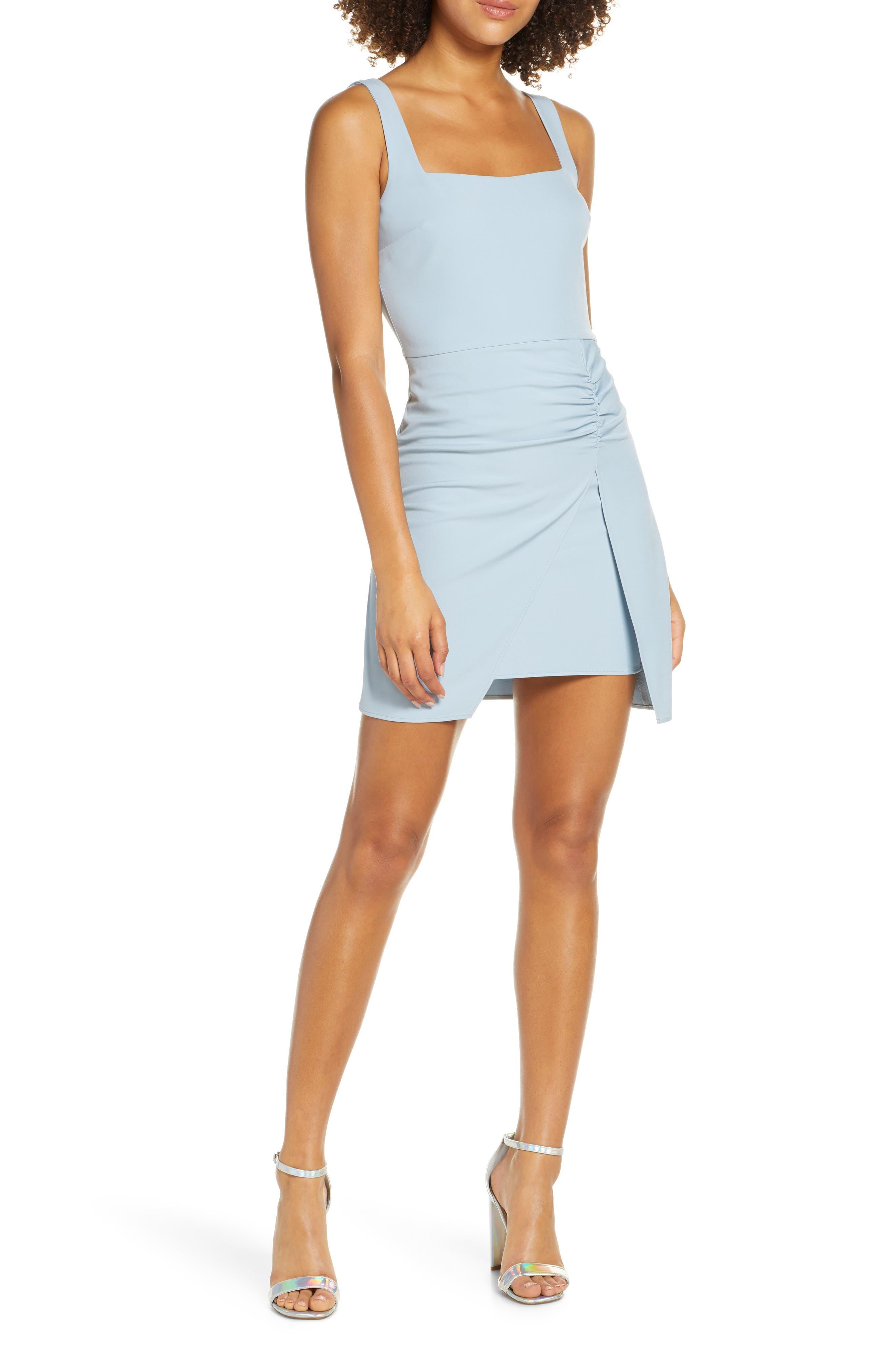 Nsr Chloe Ruched Minidress, Blue