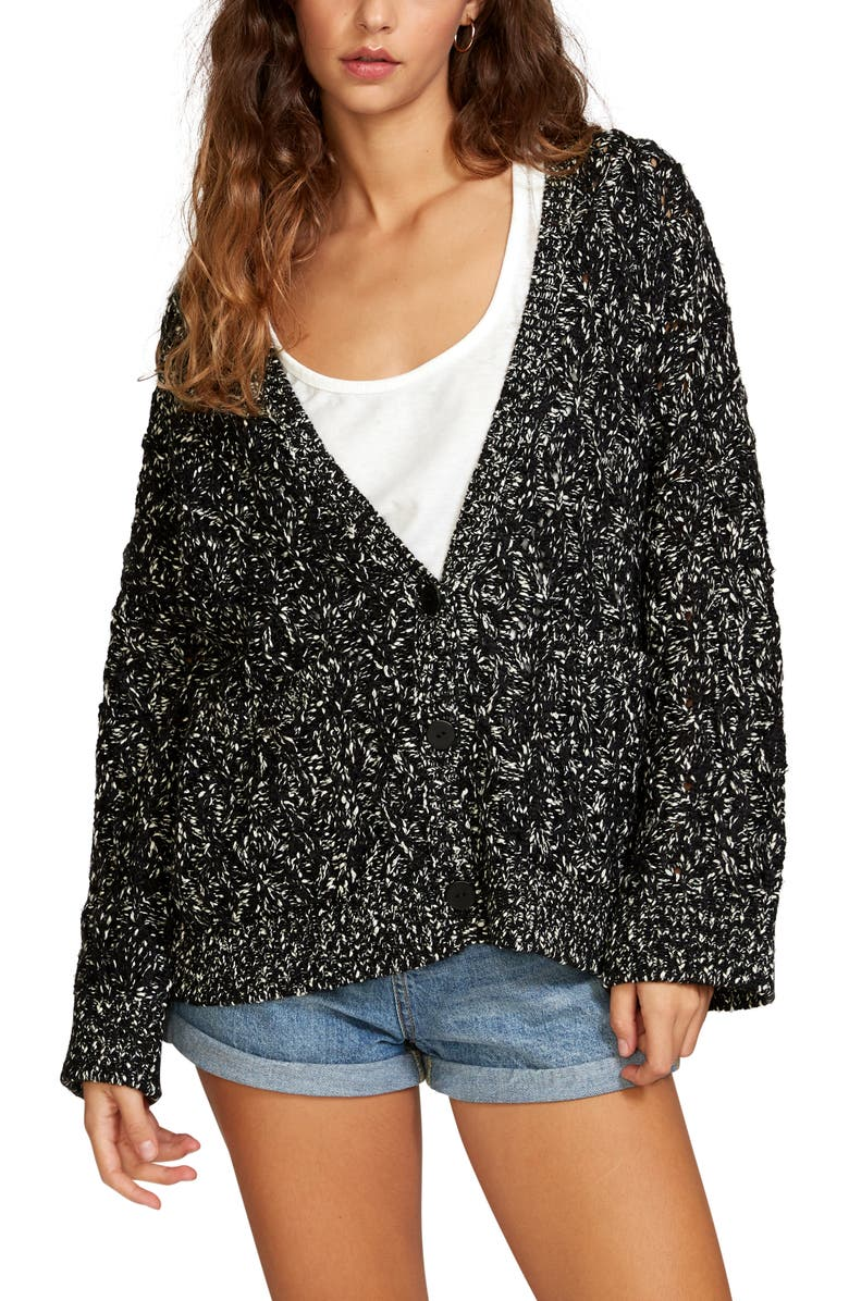 RVCA Brody Oversize Cotton Blend Cardigan, Main, color, 001