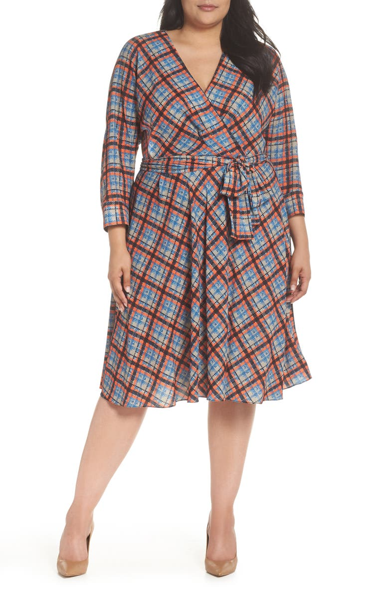ELIZA J Faux Wrap Shirtdress, Main, color, 810