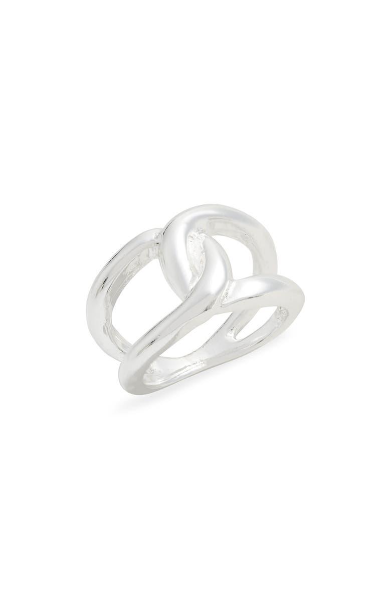 ARGENTO VIVO Interlocking Ring, Main, color, SILVER