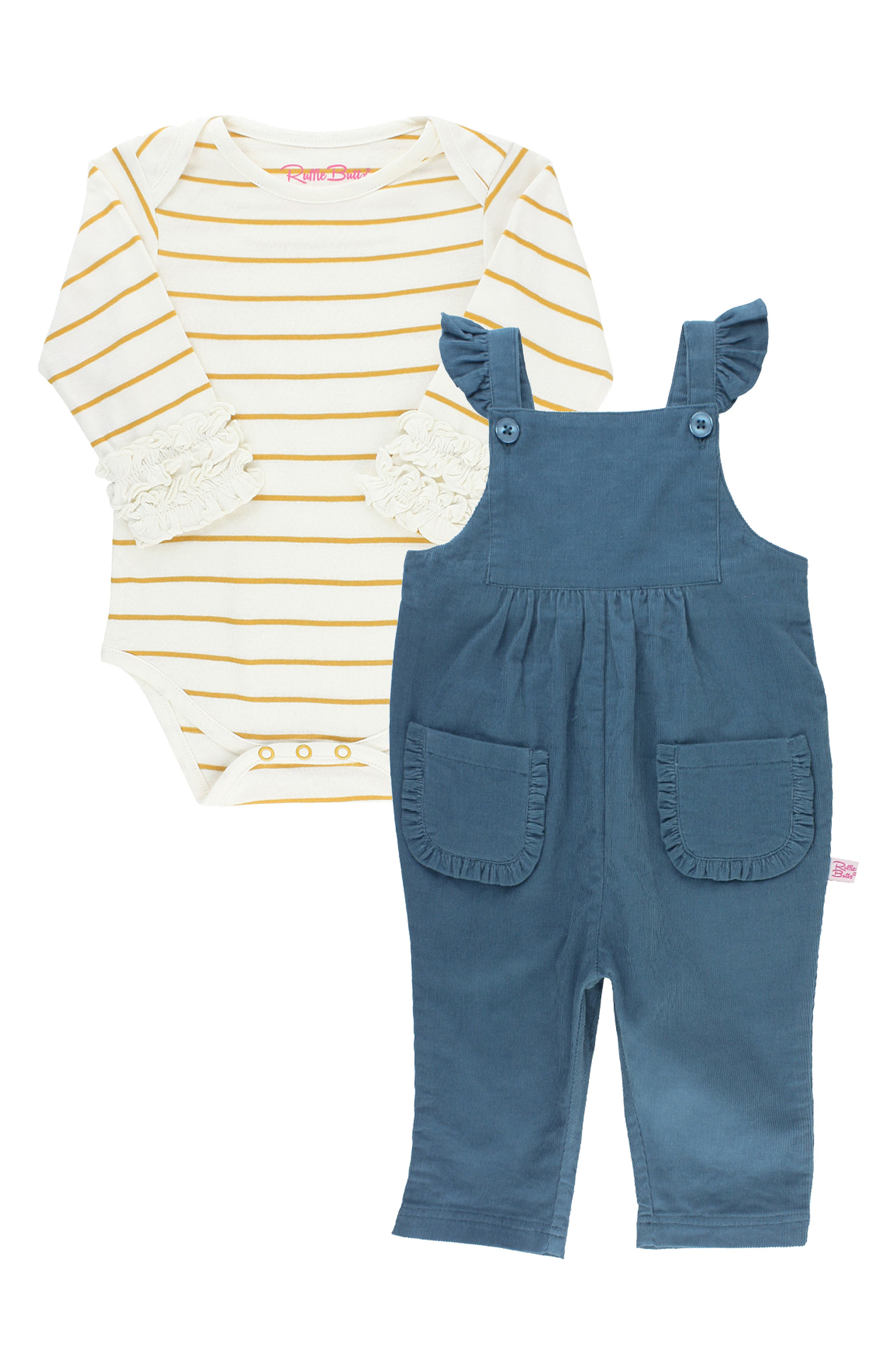 Ruffly straps add extra charm to cotton jersey overalls that coordinate with a striped long-sleeve bodysuit for a play-ready look. Style Name: Rufflebutts Stripe Bodysuit & Overalls Set (Baby). Style Number: 6095618. Available in stores.