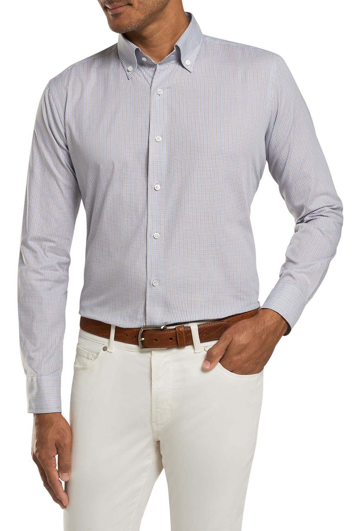 Image of Peter Millar Musée Micro Check Tailored Fit Shirt