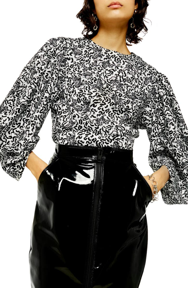 TOPSHOP Animal Print Balloon Sleeve Blouse, Main, color, BLACK MULTI