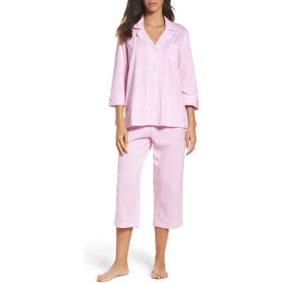 Lauren Ralph Lauren Knit Crop Cotton Pajamas, Pink