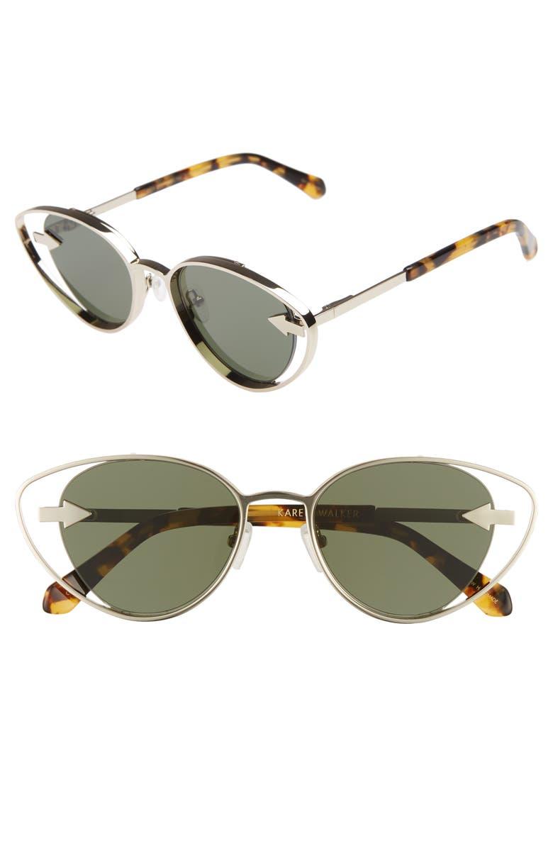 KAREN WALKER Kissy Kissy 51mm Cat Eye Sunglasses, Main, color, GOLD/ TORTOISE
