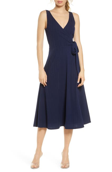 Image of Charles Henry Faux Wrap Knit Midi Dress