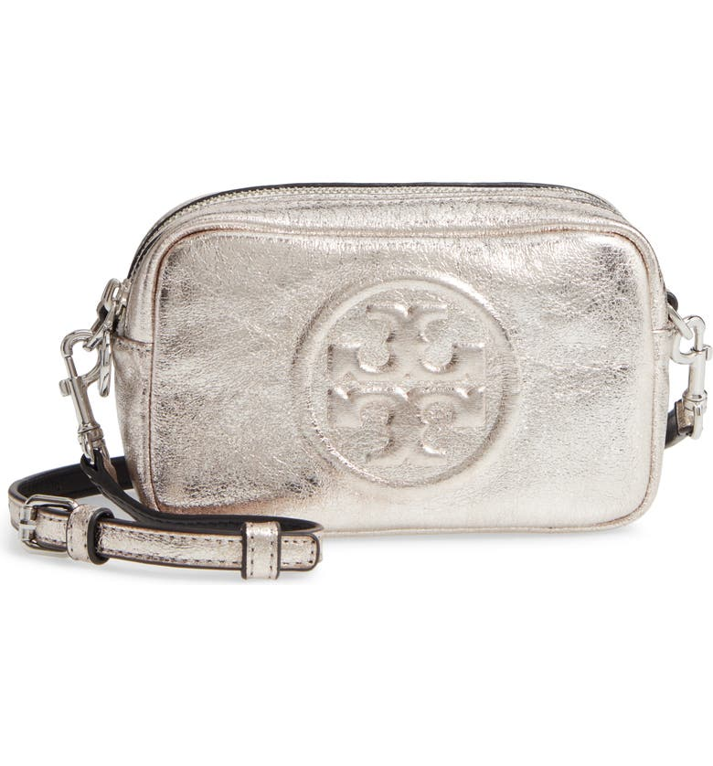 TORY BURCH Mini Perry Bombe Metallic Faux Leather Crossbody Bag, Main, color, SILVER