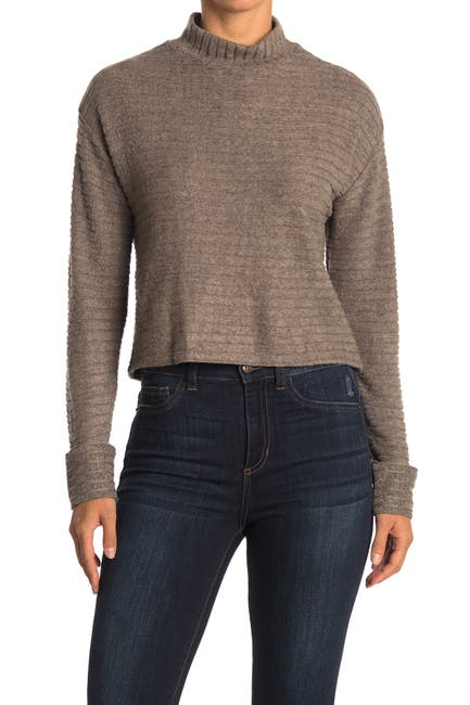 Image of Lush Horizontal Ribbed Knit Mock Neck Sweater
