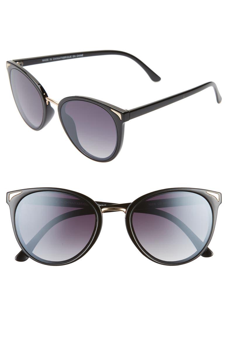 BP. 54mm Metal Tipped Cat Eye Sunglasses, Main, color, BLACK